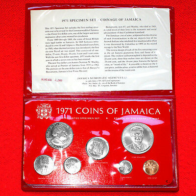 1971 Jamaica (7 Coin) Unc Mint Set + .925 Silver 5 Dollar - Franklin Mint Issue
