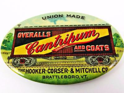 Antique Cantrihum Overalls & Coats Boxcar Celluloid Advertising Pocket Mirror