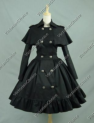 Black Victorian Gothic Coat Dress Witch Ghost Steampunk Halloween Costume C018 M
