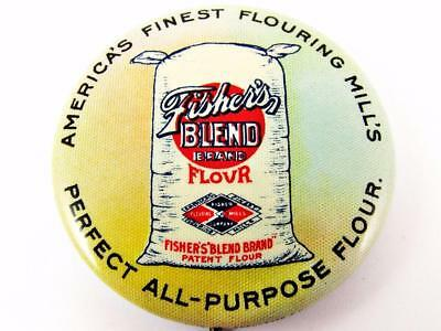"""Antique Fisher's Brand Flour Celluloid Advertising 1 & 1/2"""" Pin Pinback Button"""