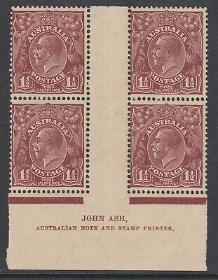 1936 1½d RED-BROWN KGV, Watermark CofA, IMPRINT block of 4, MNH