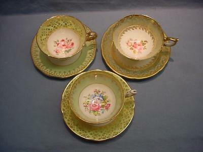3 English Teacups & Saucers - Staffordshire,  Aynsley & Queen Anne