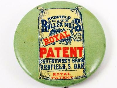 Antique Redfield City Roller Mills Royal Flour Celluloid Advertising Pin Button