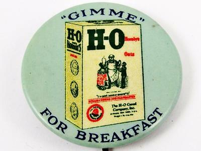 """Antique H-O Cereal Hornby's Oats Celluloid Advertising 1 & 1/4"""" Pin Button"""
