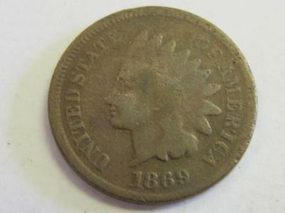 1869 Copper Indian Head Cent Better Date Fill The Hole
