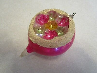 """Vintage Glass Christmas Double Indent Reflector Ornament Pink Germany(?) 3 1/2"""""""