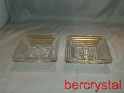 Pair c.1940 Anchor Hocking Manhattan Clear Circle Bottom Square Candleholders