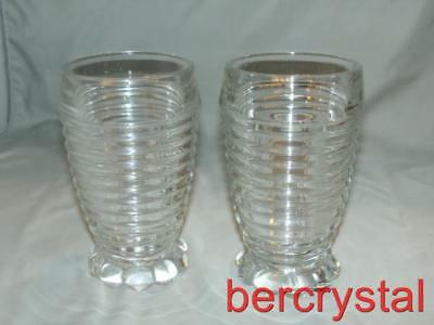 "2 c.1940 Anchor Hocking Manhattan Clear Bubble Footed 10 oz. Tumbler 5 1/4"" Tall"