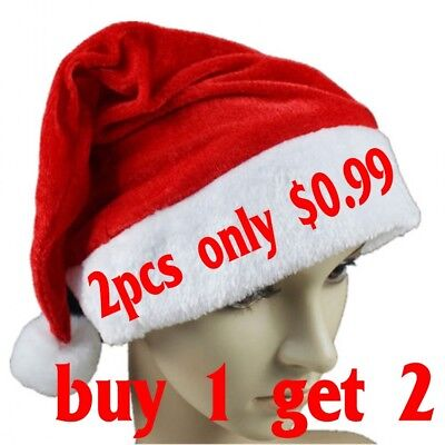 2x Soft Plush Ultra Thick Santa Claus Patry Christmas Cap Hat For Adults & Kids