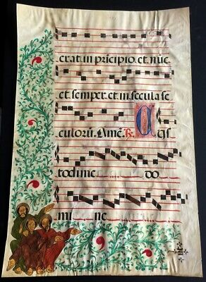 Illuminated Antiphonal Music Leaf 16th Century Manuscript 16.5 by 24.5 Inches