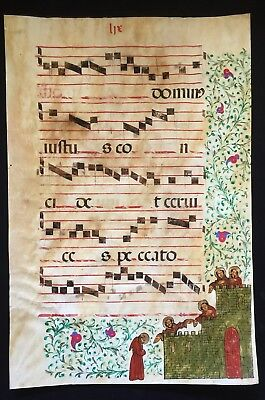 Illuminated Antiphonal Music Leaf 16th Century Manuscript 16.5 by 24.5 Inches -2