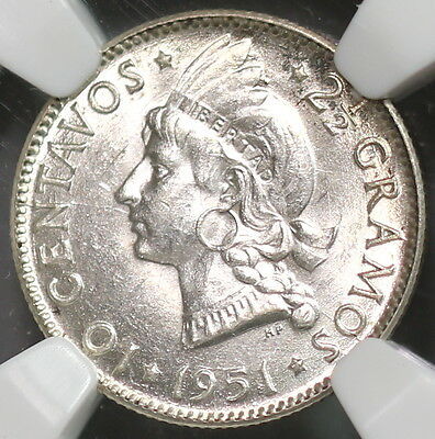 1951 NGC MS 63 DOMINICAN REP Silver 10 centavos CH BU KEY Date Coin (16112516C)