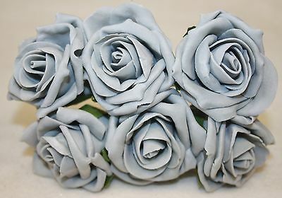 6 Grey Foam Roses Wedding Buttonhole Flowers PP381
