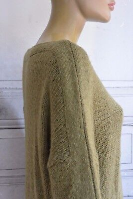vintage PULL BLOUSE tunique Kaki olive Mohair graphic Jumper sweater T.M 38/40