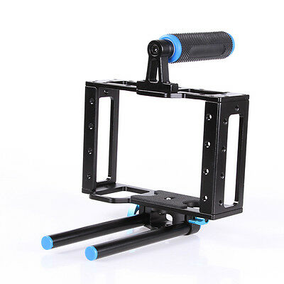 SLR Camcorder Video Camera Cage Support Handle Grip for 15mm Rod Rig Canon Nikon