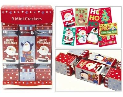 Pack Of 9 Cute Mini Square Christmas Party Crackers Santa & Penguin Design 16cm