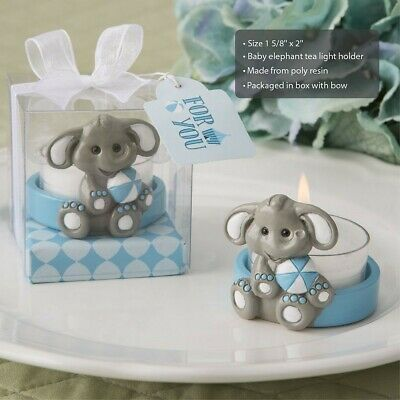 20 Cute Blue Elephant Candle Holders Boy Baby Shower Birthday Party