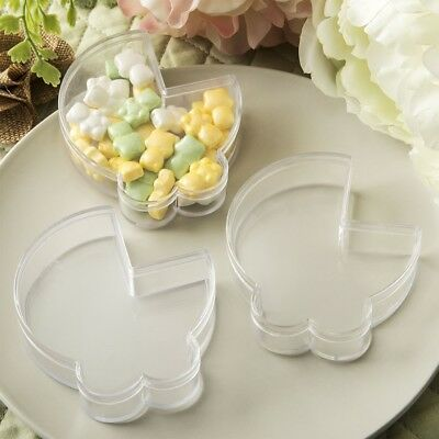 100 DYI Adorable Clear Baby Stroller Treat Holders Shower Christening Gift Favor