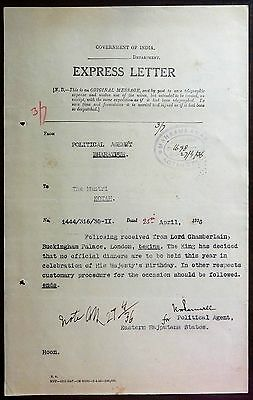 India 1935 Silver Jubilee document King George V wants no official dinners