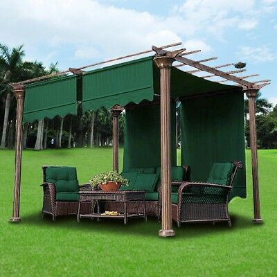 2pcs 15.5x4Ft Pergola Canopy Replacement Cover Gazebo Yard Green  w/ Valance