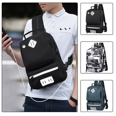 Anti-theft Busniess Laptop Backpack Casual Travel Cycling Rucksack w/ USB Charge