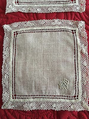 Lovely Antique 4 pc Set Off White Lace Trimmed Hand Made Linen Cocktail Napkins