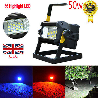 50W 36 LED Portable Rechargeable Flood Light Spot Work Camping Fishing Lamp UK