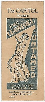 UNTAMED 1927 Joan Crawford promotion bookmark India