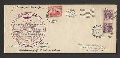 AVIATION 1933 First Flight cover to Haiti signed CANADIAN LINDBERGH ERROLL BOYD