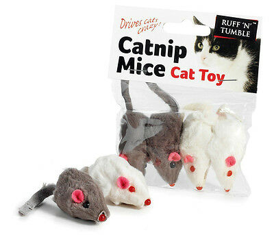 Catnip Mouse Mice Cat Kitten Toys Pack of 4 Drives Cats Crazy Ruff N Tumble