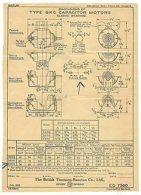 India 1930s advert & technical drawings for BKC Capacitor Motors