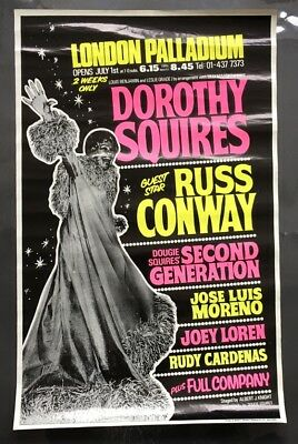 VINTAGE LONDON PALLADIUM PLAYBILL POSTER, DOROTHY SQUIRES, RUSS CONWAY, 1970s