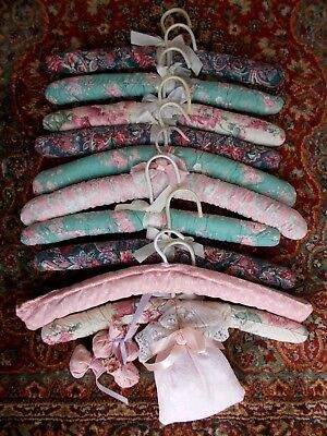 10 Handmade Vintage Coat~Clothes Hangers~Pretty Floral Cotton Prints~Shabby Chic