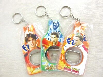 3 Pieces Bottle Opener Key Chain Football Player Collectible Superstar Wolrd New