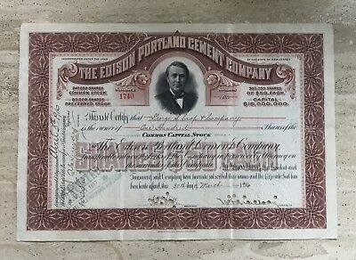 1916 EDISON PORTLAND CEMENT of NEW JERSEY STOCK CERTIFICATE