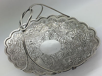 Chinese Export Silver Basket With Dragon Motif Signed Nr!!!!!!!!!!!!!!!!!!!