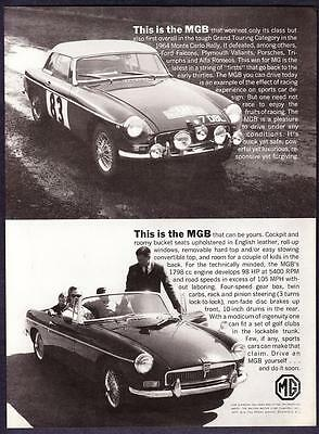 """1964 MG MGB Rally Racer & Convertible """"Can Be Yours"""" vintage promo print ad"""