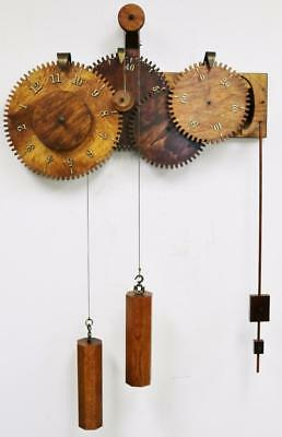 Rare Vintage Unusual Large 8 Day 2 Weight Driven Wooden Cog Regulator Wall Clock