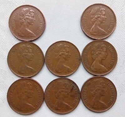 New Pence Coins 1971-81 X 8,elizabeth Ii,2Nd Bust.2 New Penny,united Kingdom