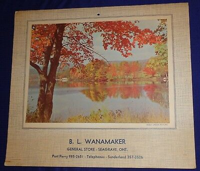 BR1507 Vtg 1972 Seagrave ON BL Wanamaker Wall Calendar Cooking Meat Cuts Recipes