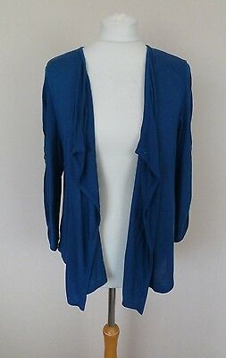 M&S Limited Kingfisher Blue Wool Blend Waterfall Maternity Cardigan Size 16 VGC