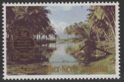 ST.KITTS-NEVIS SG434w 1980 5c LONDON 1980 WMK CROWN TO RIGHT OF CA MNH