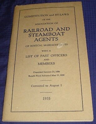 BR1173 Vtg 1935 Railroad & Steamboat Agents Constitution Boston MA 34 Pages