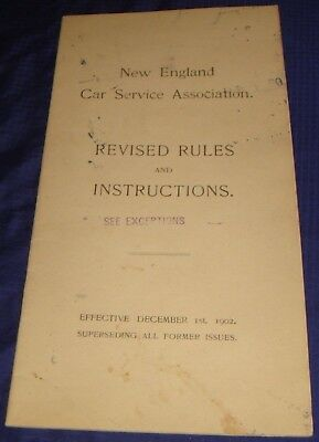 BR1170 Vtg 1902 New England Car Service Rules & Instructions 13 Pages