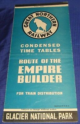 BR1160 Vtg 1946 Great Northern Railway Empire Builder Condensed Time Tables