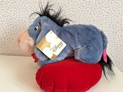 NEW with Tags Disney Store 2002 plush talking Eeyore Heart Cushion Red Rose (P)