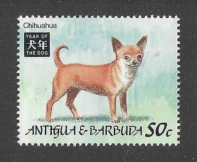 Dog Art Portrait Postage Stamp SMOOTH COATED CHIHUAHUA Antigua & Barbuda MNH