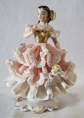 Dresden Lace Porcelain Dancer Figurine Made in Germany