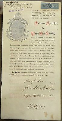 India 1898 debenture certificate Royal Bombay Yatch Club Ӝ