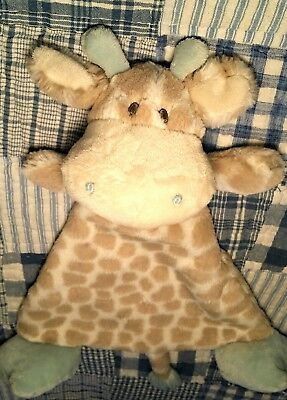 Nat and Jules Rattle flat Plush Toy Colby Giraffe cow brown blue blanket